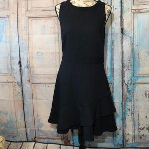Reiss Navy Fit & Flare Dress Ruffle Hem